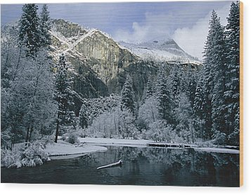 A Winter View Of The Merced River Wood Print by Marc Moritsch