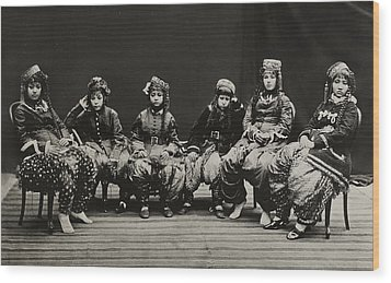 A Young Group Of Well Dressed Nepali Wood Print by John-Claude White