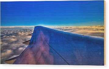 Above The Clouds On A 757 Wood Print by David Patterson