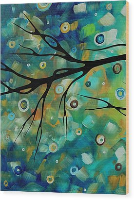 Abstract Art Original Landscape Painting Colorful Circles Morning Blues II By Madart Wood Print by Megan Duncanson