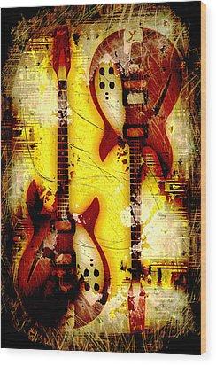 Abstract Grunge Guitars Wood Print by David G Paul
