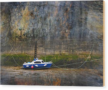 Abstract Harbour And Boat Wood Print by Svetlana Sewell