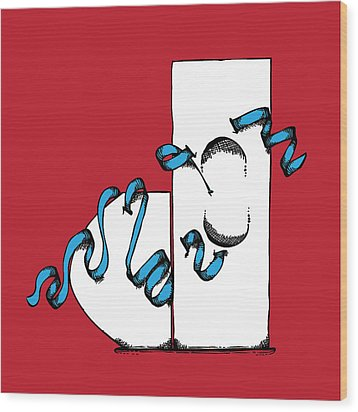 Abstract 'j' Wood Print by Michaela Mitchell