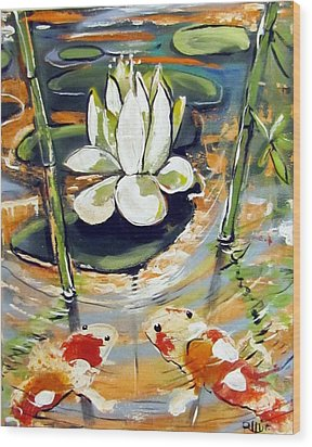 Admiring A Lotus Wood Print by Robert Wolverton Jr