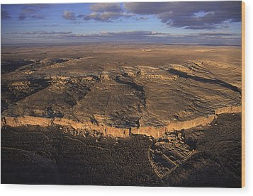 Aerial View Of Chaco Canyon And Ruins Wood Print by Ira Block