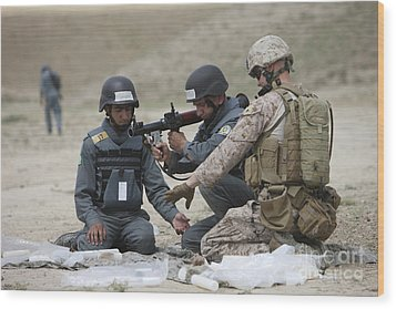 Afghan Police Students Assemble A Rpg-7 Wood Print by Terry Moore