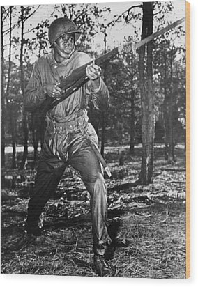African-american Soldier Charging Wood Print by Everett