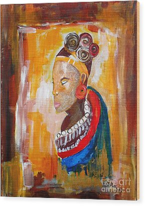 African Goddess Wood Print by EvaMaria Stollmayer