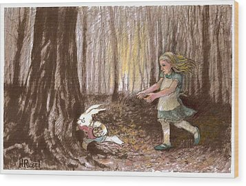 After The Bunny Wood Print by Herb Russel