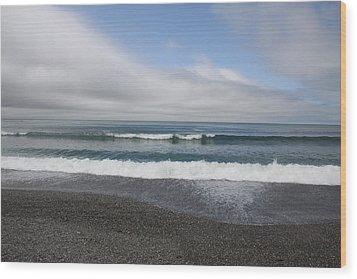 Agate Beach Surf Wood Print by Michael Picco