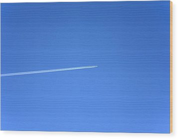 Aircraft Contrail Wood Print by Victor De Schwanberg