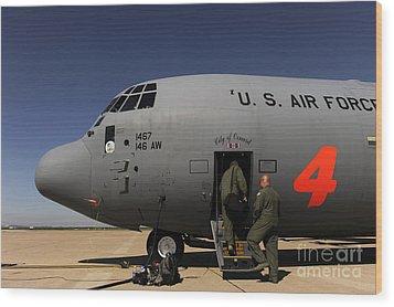 Airmen Board A C-130j Hercules At Dyess Wood Print by Stocktrek Images