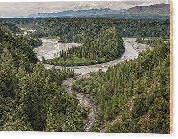Alaska Railroad Two Wood Print by Josh Whalen