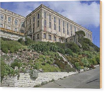 Alcatraz Cell House West Facade Wood Print by Daniel Hagerman