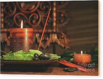 Amber Colored Candles Wood Print by Sandra Cunningham
