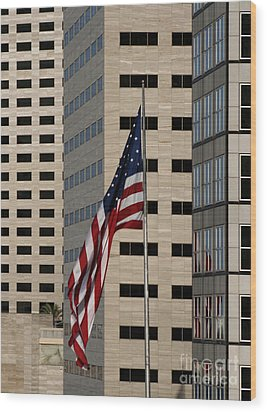 American Flag In The City Wood Print by Blink Images