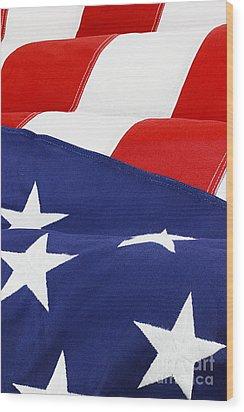 American Flag Wood Print by Stephanie Frey