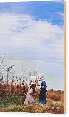 Amish Mother And Child Wood Print by Stephanie Frey