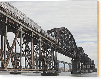 Amtrak Train Riding Atop The Benicia-martinez Train Bridge In California - 5d18728 Wood Print by Wingsdomain Art and Photography