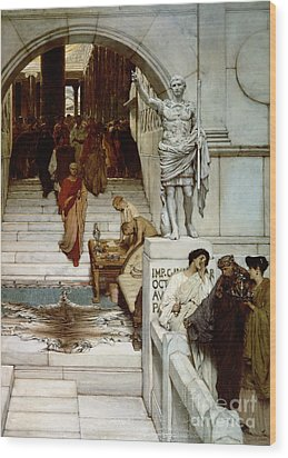 An Audience At Agrippa's Wood Print by Sir Lawrence Alma-Tadema