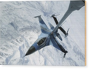 An F-16 Aggressor Sits In Contact Wood Print by Stocktrek Images