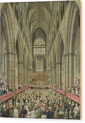 An Interior View Of Westminster Abbey On The Commemoration Of Handel's Centenary Wood Print by Edward Edwards