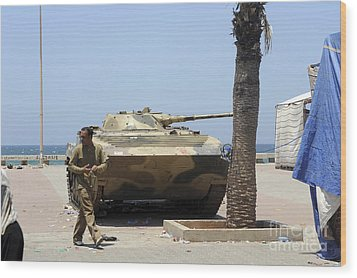 An Old Russian Bmp Armored Personnel Wood Print by Andrew Chittock