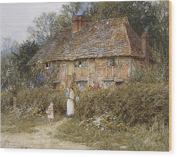 An Old Surrey Cottage Wood Print by Helen Allingham