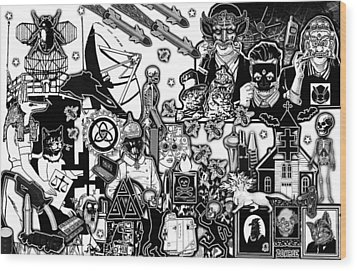 Animal Party Vision Wood Print by Travis Burns