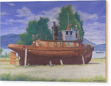 Antiquated Hudson River Tug Wood Print by Glen Heberling