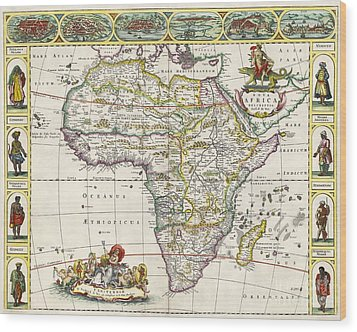 Antique Map Of Africa Wood Print by Dutch School