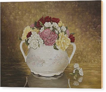 Antique Roses Wood Print by Mary Ann King