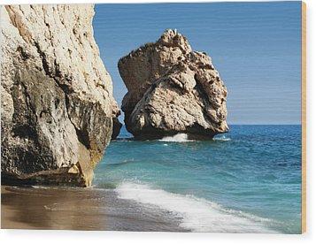 Aphrodite Rock Cyprus Wood Print by Julie L Hoddinott