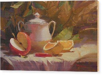 Apple And Orange Wood Print by Richard Robinson