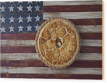 Apple Pie On Folk Art  American Flag Wood Print by Garry Gay