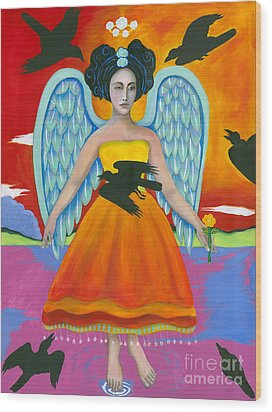 Archangel Zadklie Comes To Calm The Brewing Storm Wood Print by Christina Miller