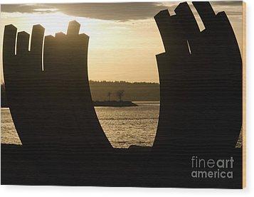 Arcs Sunset Bernar Venet Sculpture Sunset Beach Park Vancouver Bc Canada Wood Print by Andy Smy