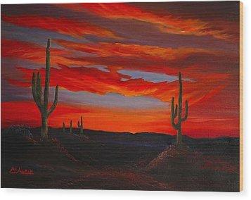 Arizona Sunset Wood Print by Tom McAlpin