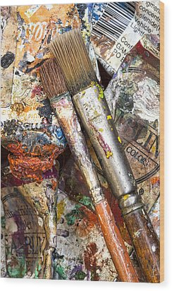 Art Is Messy 2 Wood Print by Carol Leigh
