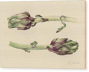 Artichokes Wood Print by Alison Cooper