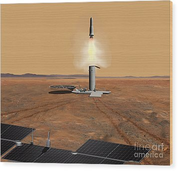 Artists Concept Of An Ascent Vehicle Wood Print by Stocktrek Images