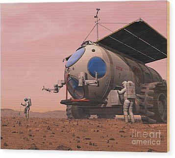 Artists Concept Of How A Martian Wood Print by Walter Myers