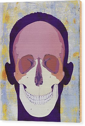 Artwork Of A Human Skull In Front View Wood Print by Hans-ulrich Osterwalder