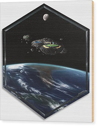Asteroid Golf Wood Print by Snake Jagger