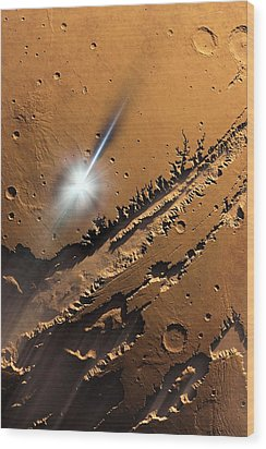 Asteroid Impact On Mars, Artwork Wood Print by Detlev Van Ravenswaay
