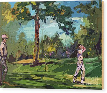At The Golf Course Vintage Golfers Wood Print by Ginette Callaway