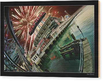 Att Park And Fire Works Wood Print by Blake Richards