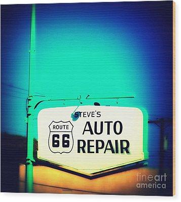 Auto Repair Sign On Route 66 Wood Print by Susanne Van Hulst