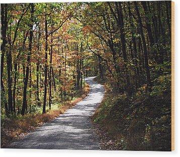 Autumn Country Lane Wood Print by David Dehner