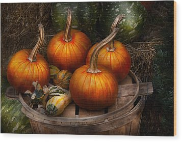 Autumn - Gourd - Pumpkins And Some Other Things  Wood Print by Mike Savad